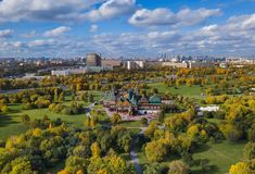 Wooden palace in Kolomenskoe - Moscow Russia - aerial view. Wooden palace of Tsar Alexey in Kolomenskoe - Moscow Russia - aerial view stock photos