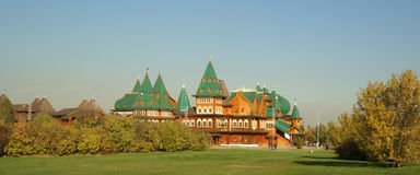 Wooden palace in Kolomenskoe (panorama). Reconstru Stock Photo