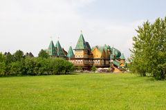 Wooden Palace of Russian kings in the Park Kolomenskoe. Royalty Free Stock Photos