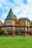 Wooden palace of tzar Aleksey Mikhailovich in Kolomenskoe reconstruction, Moscow, Russia. Wooden palace of tzar Aleksey Mikhailovich in Kolomenskoe Stock Photo