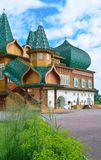 Wooden palace of tzar Aleksey Mikhailovich in Kolomenskoe reconstruction, Moscow, Russia. Wooden palace of tzar Aleksey Mikhailovich in Kolomenskoe Royalty Free Stock Photos