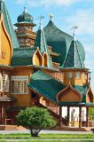 Wooden palace of tzar Aleksey Mikhailovich in Kolomenskoe reconstruction, Moscow, Russia. Wooden palace of tzar Aleksey Mikhailovich in Kolomenskoe Royalty Free Stock Photography