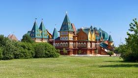 Wooden palace of tzar Aleksey Mikhailovich, Moscow. Wooden palace of tzar Aleksey Mikhailovich in Kolomenskoe (reconstruction), Moscow, Russia Stock Photos