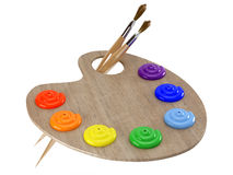 Wooden palette. With paint and paintbrushes stock illustration
