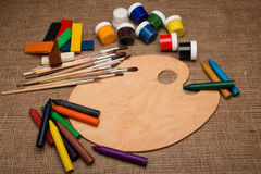 Wooden palette with art tools. Empty wooden palette with art tools Stock Photography