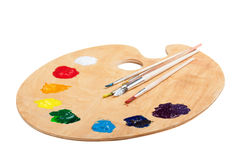 Wooden palette with paint on white Royalty Free Stock Image