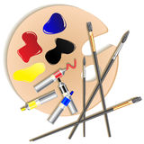 Wooden palette with paints and brushes - vector illustration. Stock Photography