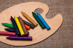 Wooden palette with pencils Royalty Free Stock Photography