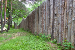 Wooden palings in the forest. Stock Photos