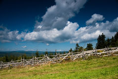 Wooden palings in the mountains. A wooden fence in Karkonosze Mountains stock images