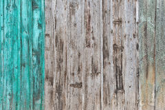 Wooden Palisade background. Close up of grey and green wood old fence panels texture Royalty Free Stock Photos