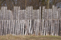Wooden palisade. Medieval wooden palisade in sunny day Royalty Free Stock Photo