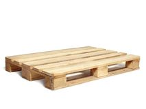 Wooden pallet. Wooden warehouse pallet shot over white background Stock Image