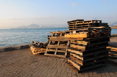 Wooden pallet. In cargo pier Stock Photography