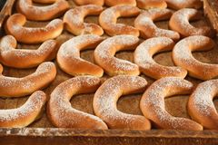 Wooden pallet with bagels, Stock Images