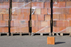 Wooden pallet with bricks. Stock Photos