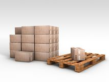 Wooden pallet with card boards. Illustation of a Wooden palette made in 3D stock illustration