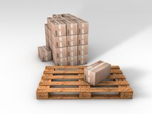 Wooden pallet with card boards Royalty Free Stock Images