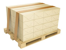 Wooden pallet and cardboard boxes. transportation concept Royalty Free Stock Photos
