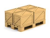 Wooden pallet with cargo box on white background. Isolated 3D il. Lustration Royalty Free Stock Photography