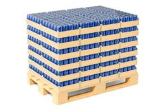 Wooden pallet with drink metallic cans in shrink film, 3D render. Ing isolated on white background Royalty Free Stock Photos