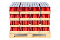 Wooden pallet full of drink metallic cans in shrink film, 3D ren. Dering isolated on white background Stock Photos