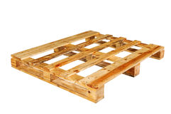 The wooden pallet. Isolated on white background Stock Photography