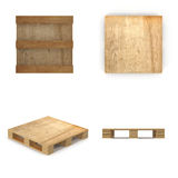 Wooden pallet. Isolated on white.3D illustration. Royalty Free Stock Photo