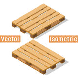 Wooden pallet isometric. Wooden pallet in isometric view with shadows. Vector flat illustration Royalty Free Stock Images