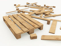 Wooden pallet and its construction boards Royalty Free Stock Images