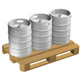 Wooden pallet with kegs,  on white background. Stock Photos