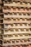 Wooden pallet overlap. In warehouse Stock Image