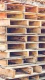 Wooden pallet overlap. In warehouse Stock Photo