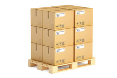 Wooden pallet with parcels. Shipping and logistics concept, 3D r Stock Photography