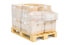 Wooden pallet with parcels wrapped in the stretch film, 3D rende. Ring isolated on white background Royalty Free Stock Photography