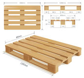Wooden Pallet. In perspective, front and side view with dimensions