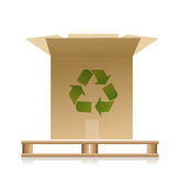 Wooden pallet with a recycle box illustration Stock Images