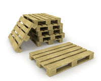 Wooden pallet and stack of pallets stock illustration