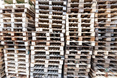 Wooden pallet on stock. Wooden Europalette for transport and stocking articles in warehouse Royalty Free Stock Photos