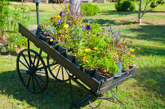 Wooden pallet truck as garden decor royalty free stock images