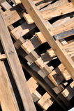 Wooden pallet under sun shine Stock Photo
