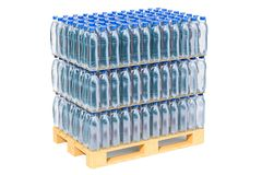 Wooden pallet with water bottles wrapped in the shrink film, 3D. Rendering isolated on white background Stock Photos