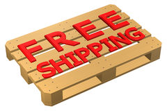 Wooden pallet with words free shipping,  on white background. Stock Image
