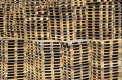 Wooden pallets. Stacked pile of of wooden Euro pallets Royalty Free Stock Photos