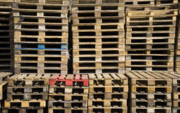 Wooden pallets. Stacked pile of of wooden Euro pallets Stock Photo