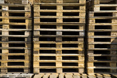 Wooden pallets. Stacked pile of of wooden Euro pallets Stock Photos