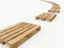 Wooden pallets arranged in a row. The curved row of wooden pallets on a white background stock illustration