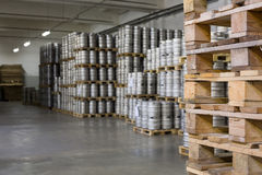 Wooden pallets for beer kegs in stock brewery Ochakovo Royalty Free Stock Photo