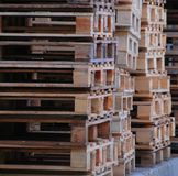 Wooden pallets into each other on royalty free stock photo