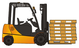 Wooden pallets with forklift. Yellow and black forklift with many empty pallets Royalty Free Stock Photos